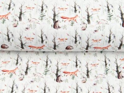Musselin Double Gauze Digitaldruck Mix Blaze Snoozy - Füchse und Hasen auf Jagd - weiß
