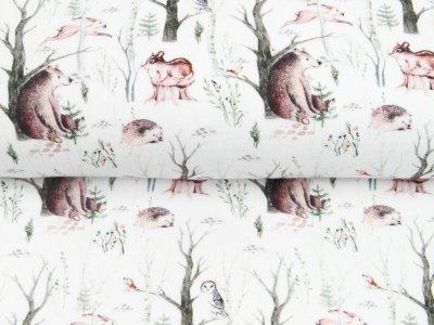 Musselin Double Gauze Digitaldruck Mix Blaze Snoozy - Bären und Igel im Wald - weiß
