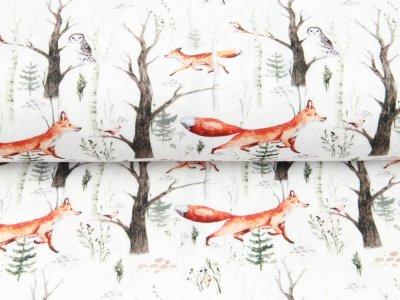 Musselin Double Gauze Digitaldruck Mix Linden Snoozy - Füchse und Eulen im Wald - weiß