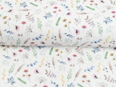 Musselin Double Gauze Digitaldruck Mix Breeze Snoozy - Mohnblumen und Zweige - weiß