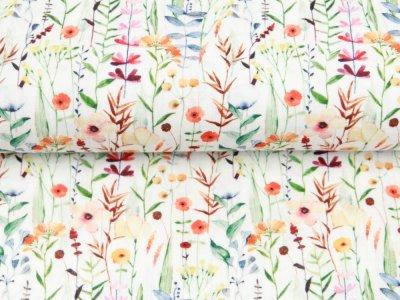 Musselin Double Gauze Digitaldruck Mix Breeze Snoozy - Wildblumen - weiß