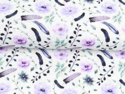 Musselin Double Gauze Digitaldruck Mix Lily Snoozy - Federn und Blumen - weiß