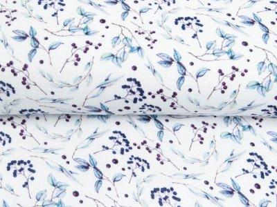 Musselin Double Gauze Digitaldruck Mix Lily Snoozy - Schlehdorn - weiß