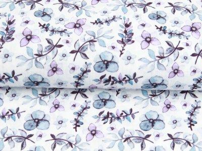 Musselin Double Gauze Digitaldruck Mix Lily Snoozy - Blüten und Zweige - weiß
