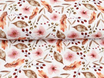 Musselin Double Gauze Digitaldruck Mix Posey Snoozy - Hagebutten und Blumen - weiß