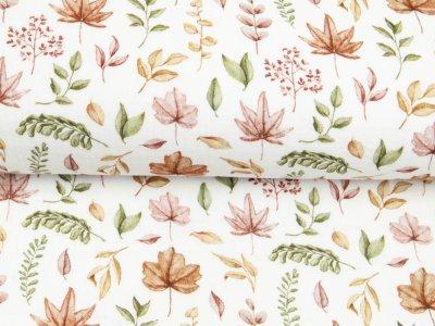 Musselin Double Gauze Digitaldruck Mix Briar Snoozy - Herbstlaub - weiß