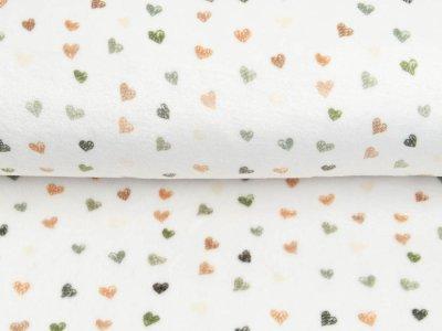 Wellnessfleece Printed Draw Dots Snoozy - süße Herzen - weiß/olive
