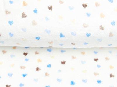 Wellnessfleece Printed Draw Dots Snoozy - süße Herzen - weiß/blau