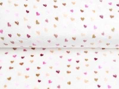 Wellnessfleece Printed Draw Dots Snoozy - süße Herzen - weiß/braun