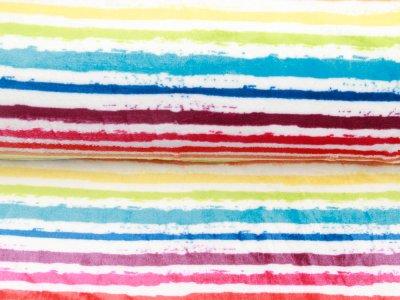 Wellnessfleece Printed Draw Dots Snoozy - Streifenmix - weiß/pink