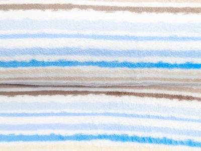 Wellnessfleece Printed Draw Dots Snoozy - Streifenmix - weiß/blau