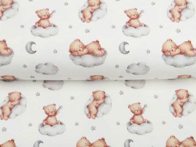 Leicht angerauter Sweat Digitaldruck Teddy - träumende Teddys auf Wolken - wollweiß