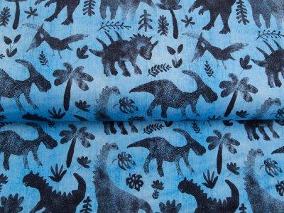 Leicht angerauter Sweat in Jeansoptik Digitaldruck Dinosaurs - Dinos und Blätter - helles jeansblau