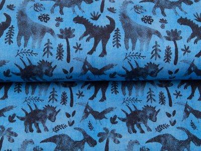 Leicht angerauter Sweat in Jeansoptik Digitaldruck Dinosaurs - Dinos und Blätter - jeansblau
