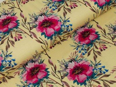 Jersey Digitaldruck - Wild-Rosen - gelb/rosa