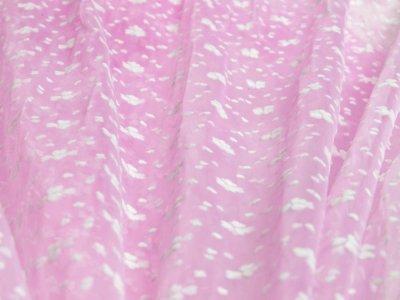 Tüll mit Flockdruck - Herzchen - rosa