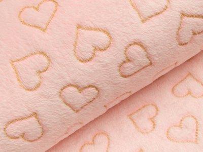 Wellnessfleece mit Glitzer - Herzen - rosa