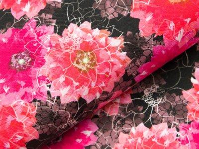 Jersey Digitaldruck - Blumen - fuchsia/schwarz