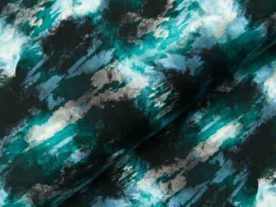 Jersey Digitaldruck - Batikmuster - schwarz/petrol