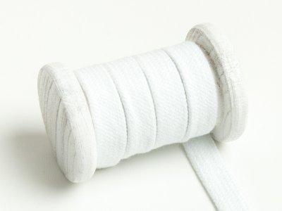 Flache Baumwoll Kordel / Band Hoodie / Kapuze 13 mm breit weiß