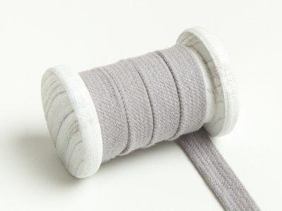Flache Baumwoll Kordel / Band Hoodie / Kapuze 13 mm breit hellgrau