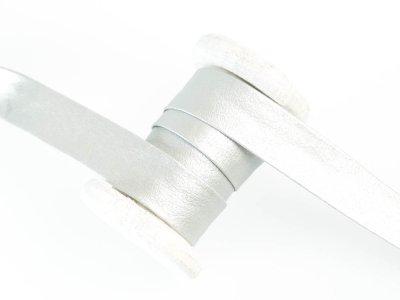 Einfassband/Falzband Kunstleder Metallic - uni silber