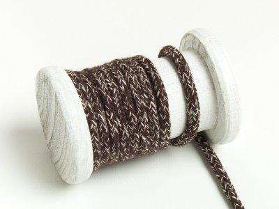 Runde Baumwoll Kordel / Band Hoodie / Kapuze Ø 5 mm meliert schokobraun