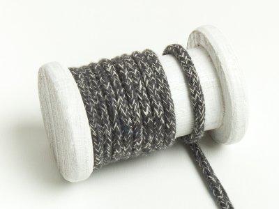 Runde Baumwoll Kordel / Band Hoodie / Kapuze Ø 5 mm meliert dunkelgrau