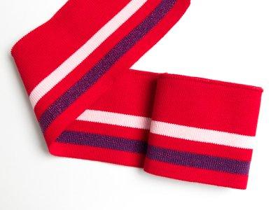 Elastisches Bündchen - 2 Streifen mit Glitzer - rot/lila/hellrosa