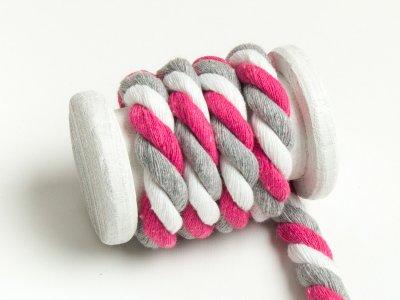 Gedrehte Multicolour Baumwoll Kordel / Band Hoodie / Kapuze Ø 10 mm pink-weiß-hellgrau