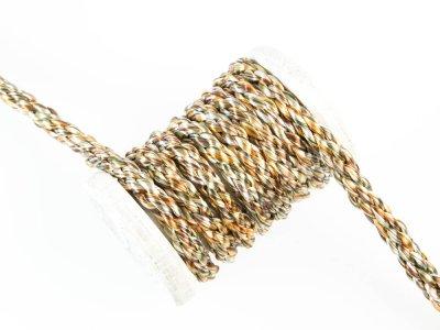 Gedrehte Baumwoll Kordel / Band Hoodie / Kapuze Ø 8 mm Metallic - uni gold/silber
