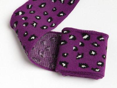 Elastisches Jacquard Bündchen - Leopard - purple