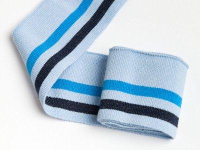 Elastisches Bündchen - 2 Streifen mit Glitzer - hellblau/türkis/schwarz