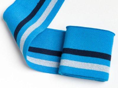 Elastisches Bündchen - 2 Streifen mit Glitzer - türkis/nachtblau/lichtgrau