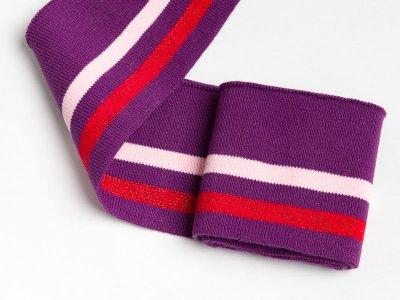 Elastisches Bündchen - 2 Streifen mit Glitzer - purple/hellrosa/rot