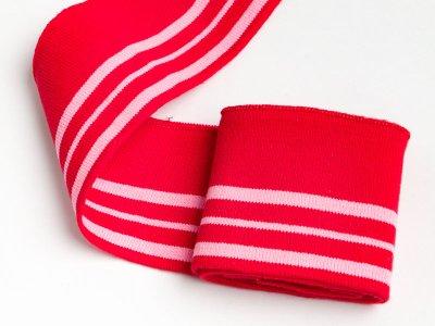 Elastisches Bündchen - 3 Streifen - rot/pink