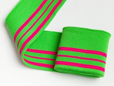 Elastisches Bündchen - 3 Streifen - applegreen/fuchsia
