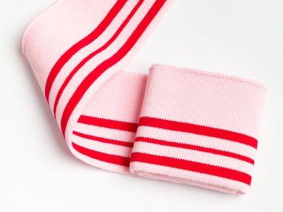 Elastisches Bündchen - 3 Streifen - hellrosa/rot