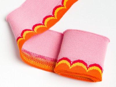 Elastisches Jacquard Bündchen - Waves - rosa/orange