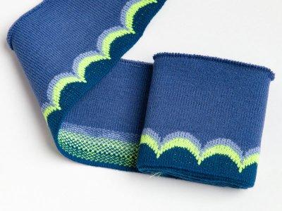 Elastisches Jacquard Bündchen - Waves - jeans/petrol