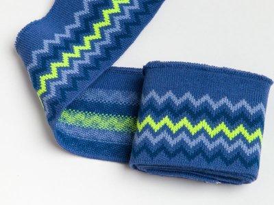 Elastisches Jacquard Bündchen - Chevrons - jeans/rauchblau