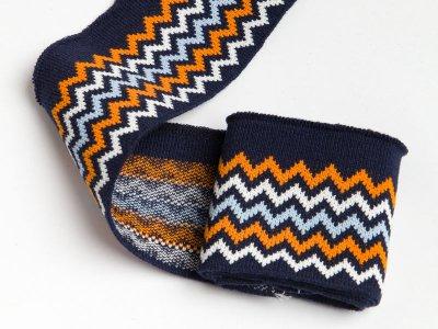 Elastisches Jacquard Bündchen - Chevrons - nachtblau/orange