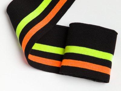 Elastisches Bündchen - 2 Streifen - schwarz/neon gelb/neon orange