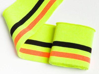 Elastisches Bündchen - 2 Streifen - neon gelb/schwarz/neon orange