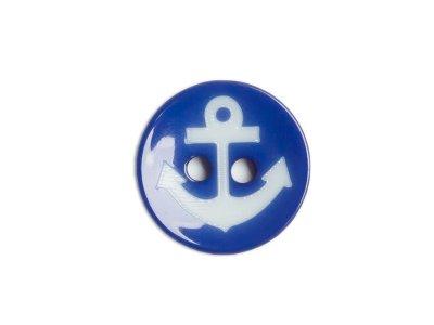 Knopf rund Anker 15 mm blau