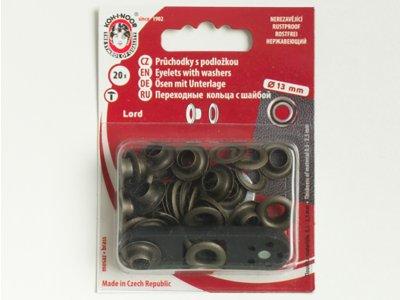 Ösen und Scheiben 13/7mm 20 Stück für Bänder brüniertfarben