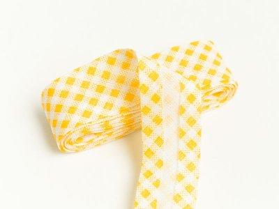 Baumwoll Schrägband gefalzt 20 mm x 2 m kariert - gelb