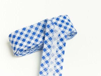 Baumwoll Schrägband gefalzt 20 mm x 2 m kariert - blau
