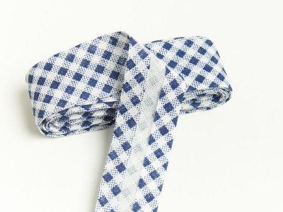 Baumwoll Schrägband gefalzt 20 mm x 2 m kariert - dunkles blau