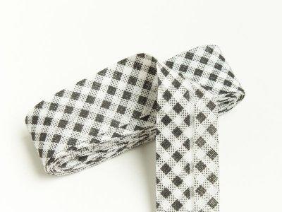 Baumwoll Schrägband gefalzt 20 mm x 2 m kariert - schwarz